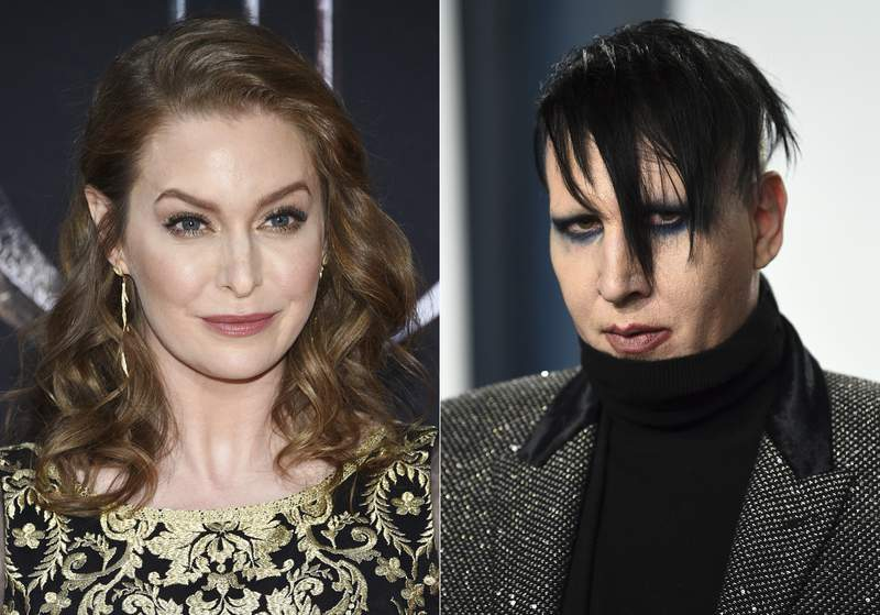 """In this combination photo, actress Esm Bianco appears at HBO's """"Game of Thrones"""" final season premiere in New York on April 3, 2019, left, and musician Marilyn Manson appears at the Vanity Fair Oscar Party in Beverly Hills, Calif. on Feb. 9, 2020. Bianco has sued Marilyn Manson alleging sexual, physical and emotional abuse. She filed the lawsuit in federal court in Los Angeles on Friday, April 30, 2021. (Photos by Evan Agostini/Invision/AP)"""