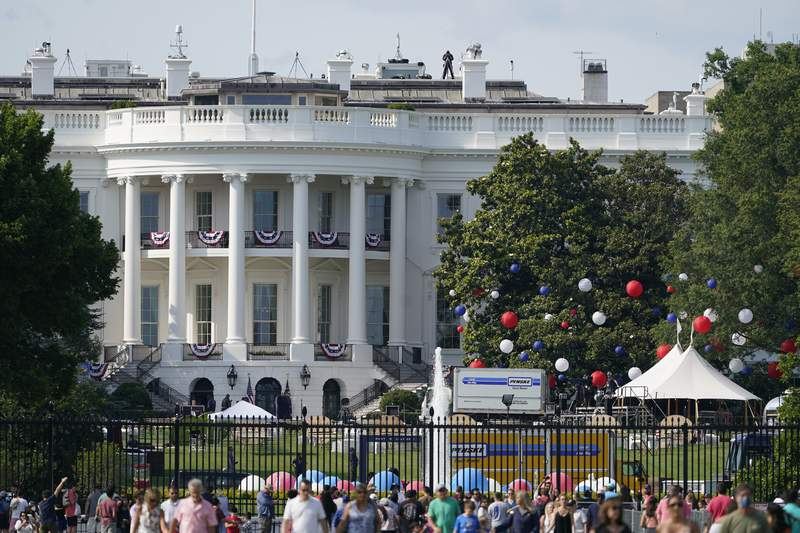 Preparations take place for an Independence Day celebration on the South Lawn of the White House, Saturday, July 3, 2021, in Washington. (AP Photo/Patrick Semansky)