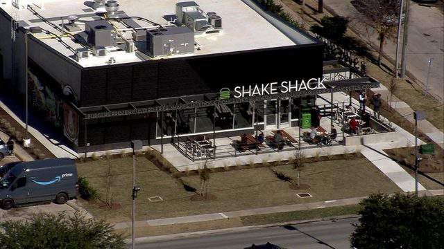 The Shake Shack location in Houston's Montrose neighborhood is seen from the air on Dec. 20, 2018.