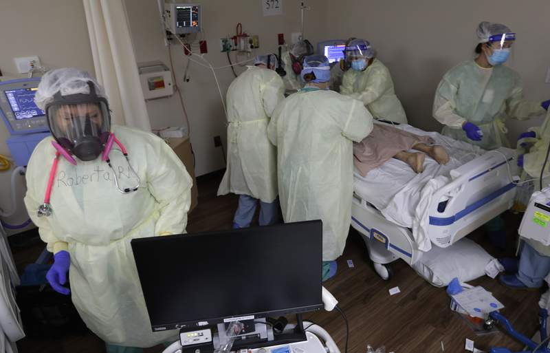 Medical personnel treat a COVID-19 patient at DHR Health, Wednesday, July 29, 2020, in McAllen, Texas. (AP Photo/Eric Gay)