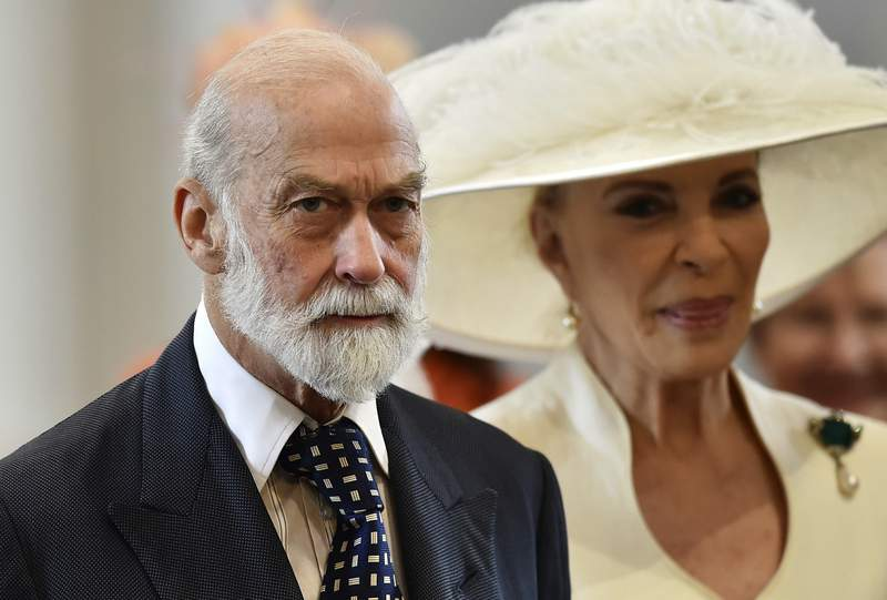FILE - In this Friday, June 10, 2016 file photo, Britain's Prince Michael of Kent and Princess Michael of Kent arrive at St Paul's Cathedral in London. An investigative report by British media published Sunday,May 9, 2021 says that Queen Elizabeth IIs cousin, Prince Michael of Kent, was willing to use his royal status for personal profit and to seek favors from Russias President Vladimir Putin. The undercover investigation by the Sunday Times and Channel 4 saw reporters posing as investors of a fake South Korean gold company. (Ben Stansall/Pool Photo via AP, file)