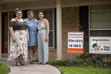 Annabelle Hicks, Ann Marie Cotman Hicks and Allison Hicks outside their north Austin home on July 1, 2020. Annabelle, a Trinity University freshman, and Allison, a University of North Texas senior, both plan to return to their respective campuses this fall. (Allie Goulding/The Texas Tribune)