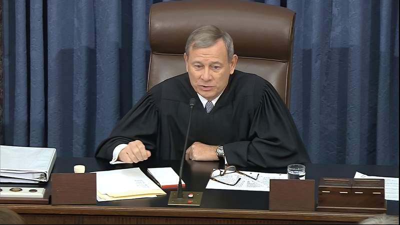 In this image from video, presiding officer Chief Justice of the United States John Roberts tells senators they should no longer address their questions to specific people during the impeachment trial against President Donald Trump in the Senate at the U.S. Capitol in Washington, Thursday, Jan. 30 2020. (Senate Television via AP)