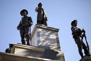 The 1903 Confederate monument at the south entrance to the state Capitol grounds. (Miguel Gutierrez Jr. / The Texas Tribune)