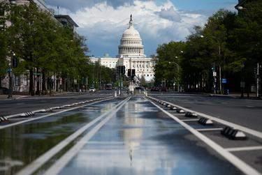 A view of the U.S. Capitol Building in Washington, D.C. on April 13, 2020.      Graeme Sloan/Sipa USA via REUTERS