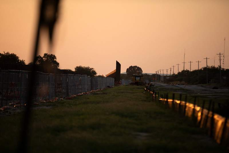 A portion of an unfinished border wall stands near the U.S. and Mexico border in Del Rio on July 22, 2021.