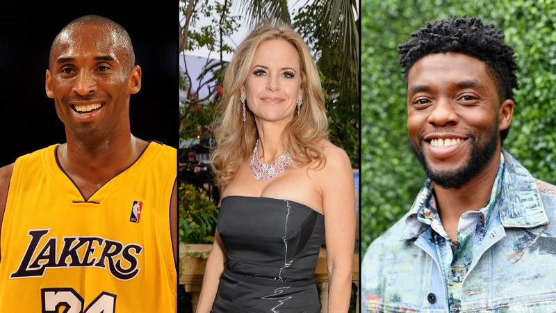 LEFT: Kobe Bryant #24 of the Los Angeles Lakers smiles in the fourth quarter during the game against the Chicago Bulls on November 19, 2009. MIDDLE: Kelly Preston attends the welcome party in Cannes, France on May 21, 2014. RIGHT: Chadwick Boseman attends the 2018 MTV Movie And TV Awards at Barker Hangar on June 16, 2018.