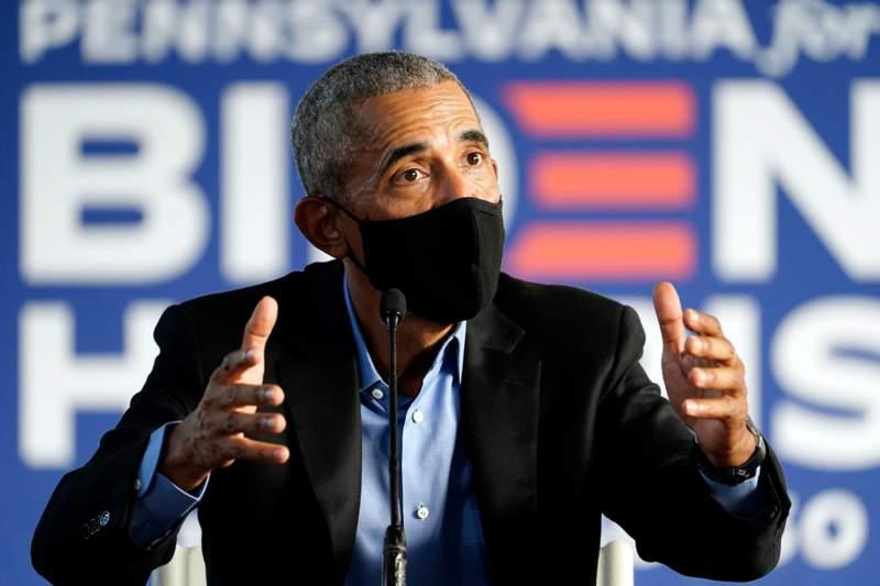 Former President Barack Obama speaks during a campaign event for Democratic presidential candidate former Vice President Joe Biden, Wednesday, Oct. 21, 2020, in Philadelphia. (AP Photo/ Matt Slocum)