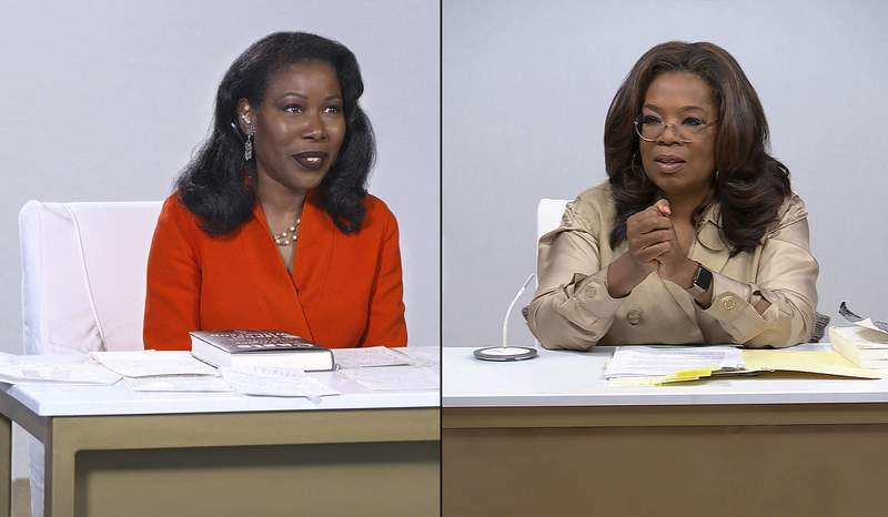 """This combination photo released by Apple shows Isabel Wilkerson, author of Caste: The Origins of Our Discontents, left, and host Oprah Winfrey during a discussion for """"Oprah's Book Club"""" and The Oprah Conversation"""" series. The book club episode will air free on Apple TV+ on Friday.  (Apple TV Plus via AP)"""