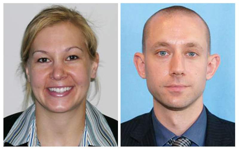 These photo released by the FBI show agents Laura Schwartzenberger, left, and FBI agent Daniel Alfin. The two were fatally shot Tuesday, Feb. 2, 2021, while serving a search warrant at the home of child pornography suspect David Huber, a 55-year-old computer technician in Sunrise, Fla. Three other agents were wounded. (FBi via AP)