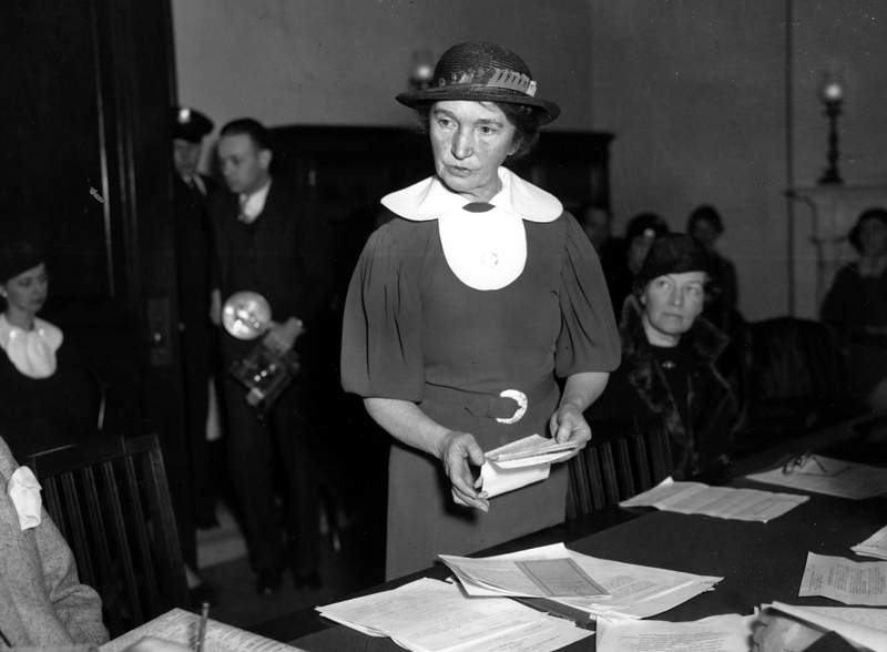 FILE - In this March 1, 1934 file photo, Margaret Sanger, who founded the American Birth Control League in 1921, speaks before a Senate committee to advocate for federal birth-control legislation in Washington. Planned Parenthood of Greater New York is removing Sanger's name from a Manhattan clinic because of the birth control pioneer's ties to the eugenics movement, the organization announced Tuesday, July 21, 2020. (AP Photo, File)