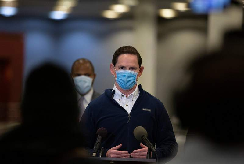 """Dallas County Judge Clay Jenkins speaks at a presser before opening Dallas Countys first """"mega"""" public vaccination site at Fair Park on Jan. 11, 2021."""