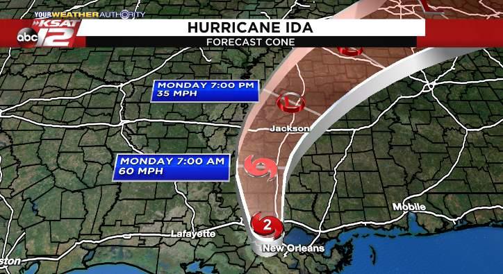 The latest track for Hurricane Ida