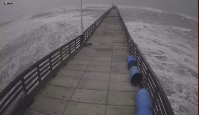 End of Bob Hall Pier collapses. Image courtesy of National Weather Service and Nueces County ESD #2.