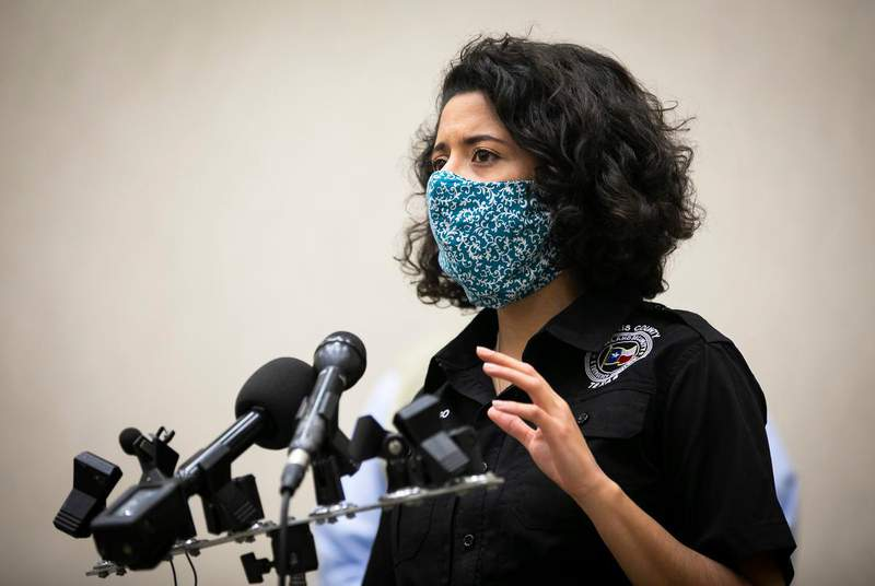 Harris County Judge Lina Hidalgo speaks to media during a press conference at NRG Park in Houston on April 11, 2020. (Credit: Annie Mulligan for The Texas Tribune)