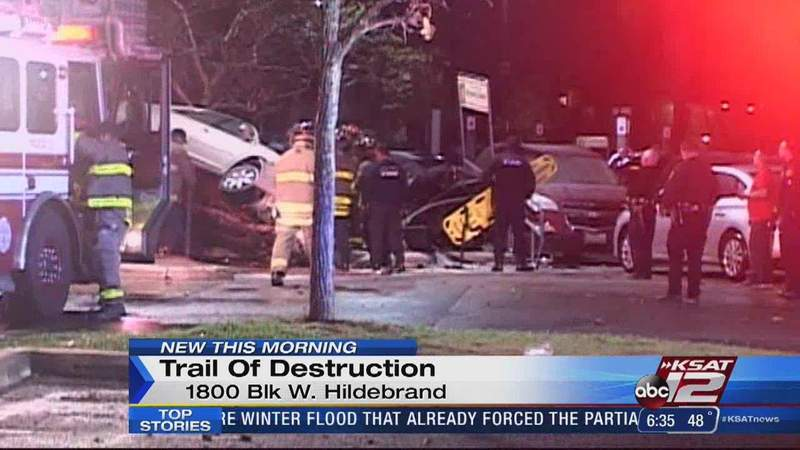 Driver hospitalized after crashing car into pole on