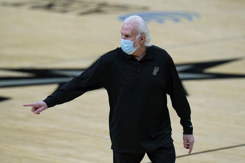 San Antonio Spurs coach Gregg Popovich walks off the court after he was ejected during the first half of the team's NBA basketball game against the Los Angeles Lakers in San Antonio, Wednesday, Dec. 30, 2020. (AP Photo/Eric Gay)