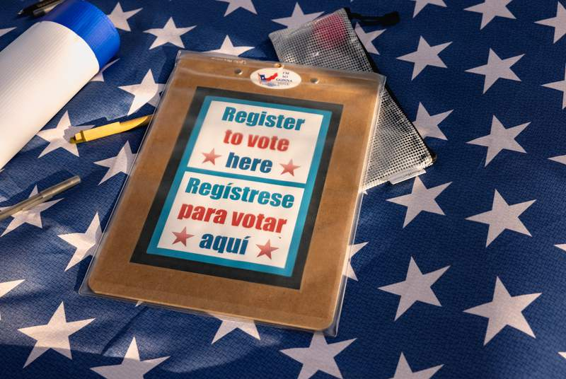 Voter registration tables were set up at the For the People voting rights rally at the Texas Capitol on June 20, 2021.