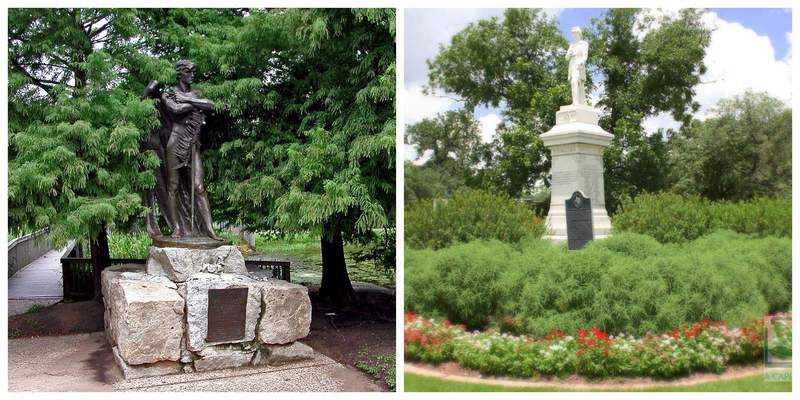 "The statue of a Confederate soldier called ""Spirit of The Confederacy"" and a statue of Richard W. ""Dick"" Dowling, a Confederate artillery commander prominent in the naval victory against two Union vessels in the Battle of Sabine Pass, will be removed from two Houston city parks. (Courtesy: City of Houston)"
