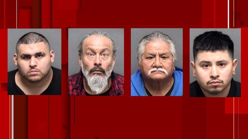 Jorge Ortiz, Juan Macias, Manuel Salas and Roland Roblez were among nine men arrested in an SAPD prostitution sting on Jan. 22 and 23.