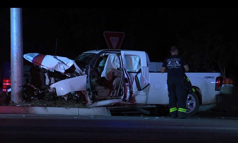 A man was extracted from his pickup truck following an overnight crash on the North Side, according to San Antonio police.