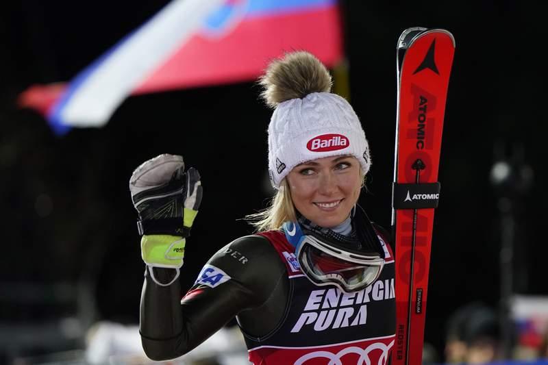 United States' Mikaela Shiffrin walks to the podium after taking second place in an alpine ski, women's World Cup slalom in Zagreb, Croatia, Saturday, Jan. 4, 2020. (AP Photo/Giovanni Auletta)