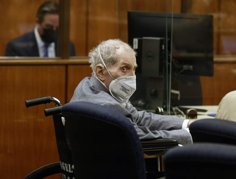 FILE - In this Sept. 8, 2021, file photo, Robert Durst looks at jurors as he appears in a courtroom in Inglewood, Calif. A Los Angeles jury convicted Robert Durst Friday, Sept. 17, 2021 of murdering his best friend 20 years ago in a case that took on new life after the New York real estate heir participated in a documentary that connected him to the slaying linked to his wifes 1982 disappearance.(Al Seib/Los Angeles Times via AP, Pool, File)
