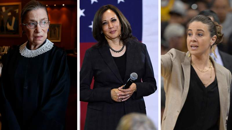 The late Supreme Court Justice Ruth Bader Ginsburg, Vice President Kamala Harris, Spurs Assistant Coach Becky Hammon