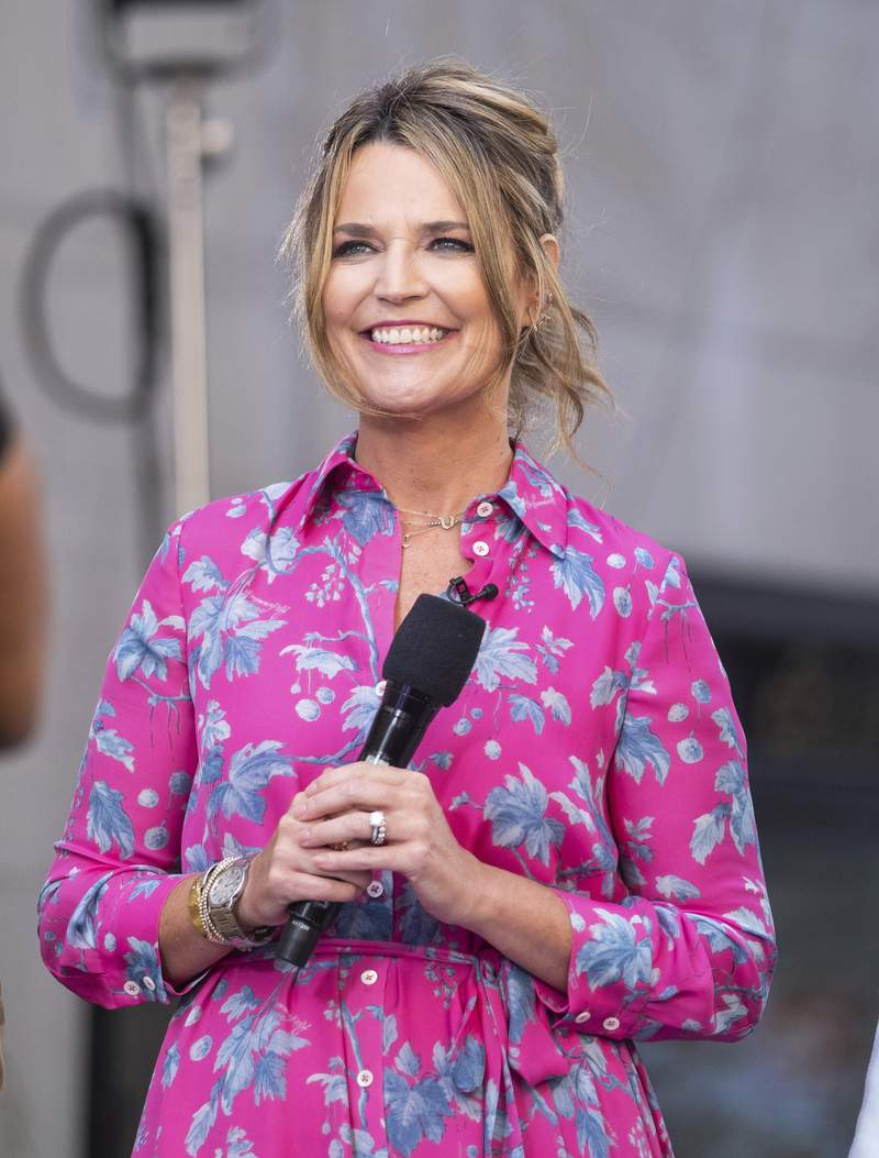 FILE - This July 12, 2019 file photo shows co-host Savannah Guthrie on NBC's Today show in New York. Guthrie worked at home Wednesday,   March 18, 2020, and NBC provided her with a makeshift studio for her suburban New York basement, one illustration of how the media has had to adjust to new realities created by the coronavirus. (Photo by Charles Sykes/Invision/AP, File)