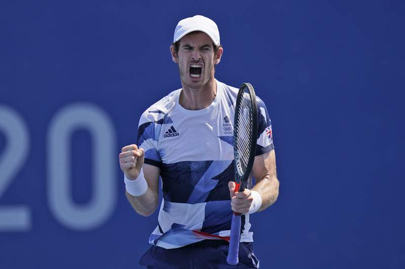 Andy Murray, of Britain, reacts after winning the first set during his doubles match in the quarterfinals of the tennis competition at the 2020 Summer Olympics, Wednesday, July 28, 2021, in Tokyo, Japan. (AP Photo/Seth Wenig)