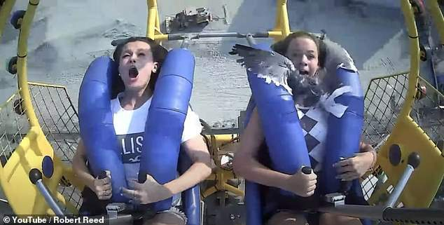 A seagull lands on a teenager as she and her friend launch on a sling shot ride in New Jersey.