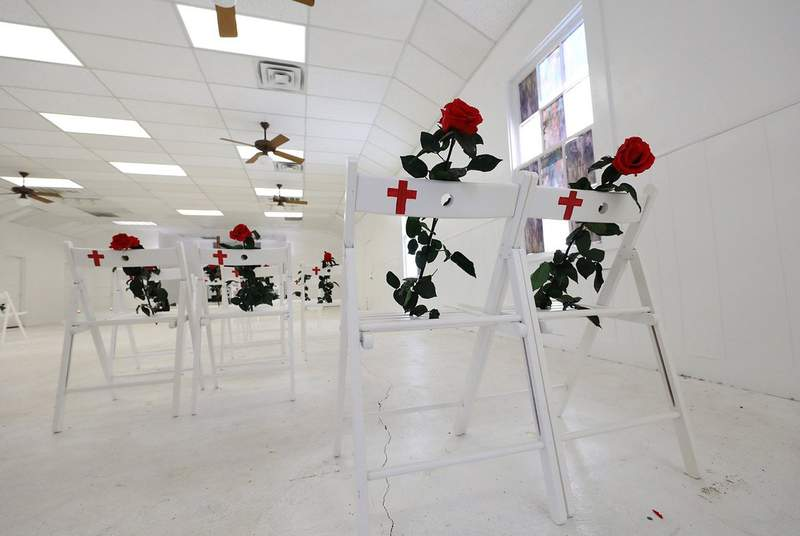Memorial to the 26 victims of the Sutherland Springs massacre on March 30, 2018.