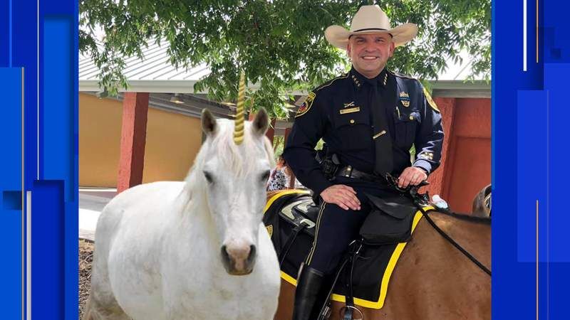 BCSO shares an April Fool's Day image of Sheriff Salazar next to a unicorn.